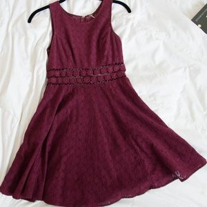 FreePeople Wine Colored Spring Lace Dress